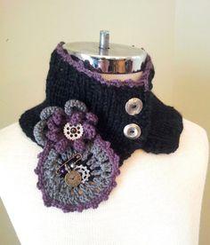 Victorian Steam Punk Cozy Collar Neck Warmer Black, Grey, Purple Hand Knit scarf, Crochet scarf