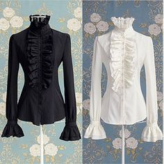 Cheap shirt blouse, Buy Quality office lady directly from China ladies shirts Suppliers: Victorian Women OL Office Lady Shirt High Neck Frilly Ruffle Cuffs Shirt Blouse Victorian Shirt, Victorian Women, Victorian Fashion, Victorian Era, Blouses For Women, T Shirts For Women, Mode Chanel, Shirt Bluse, Ruffle Shirt