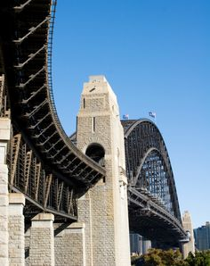I love this shot of Sydney Harbour Bridge (looks like from the north side to me). The approaches really are curved like this, making for such a majestic ascent / descent (depending on which direction you're coming from) onto the Bridge and then under the arch itself.