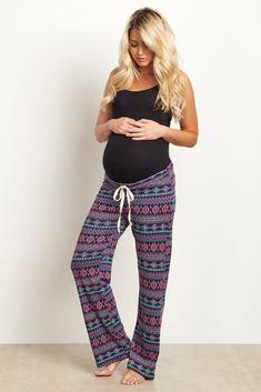 Navy Blue Tribal Print Maternity Pajama/Lounge Pants