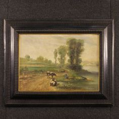 Painting framework oil on canvas frame French signed landscape antique style 900 French Paintings, Small Paintings, Beautiful Paintings, Landscape Paintings, Light Painting, Oil Painting On Canvas, Painting Art, French Signs, Painted Toms