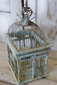 vintage bird cage, grey blues Repinned by www.silver-and-grey.com