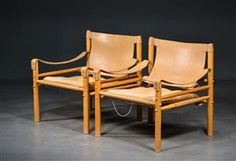 Vare: 4317993 Arne Norell. Par safari-stole af ask med læder, model Scirocco (2)