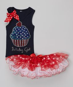 This Patriotic Cupcake Tank & Pettiskirt - Toddler & Girls by So Girly & Twirly is perfect! #zulilyfinds