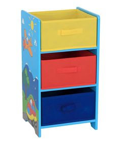 Look at this Yellow & Blue Three-Bin Storage Shelf on #zulily today!