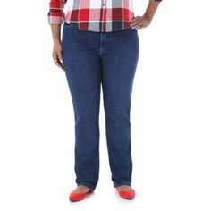 Riders by Lee Women's Plus-Size Classic Fit Straight Leg Jeans, Size: 20WP, Blue