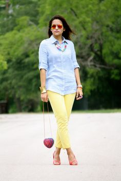 Cool summer outfits. Wish I could wear yellow!
