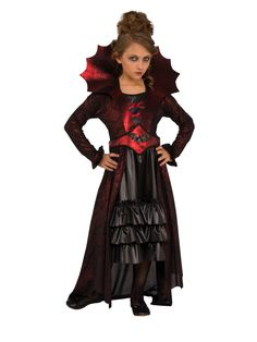 Look what I found on Victorian Vampire Dress-Up Set - Kids Vampire Dress Up, Vampire Costume Kids, Victorian Vampire Costume, Vampire Girls, Female Vampire, Vampire Queen, Classic Halloween Costumes, Halloween Costumes For Girls, Halloween Dress