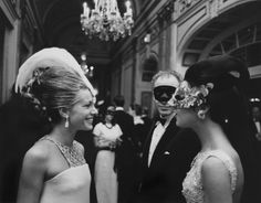 "Two incredible women: Princess Luciana Pignatelli & Countess Consuelo Crespi at the Black & White Ball 1966  - that's the ""Schwab Diamond"" suspended on Luciana's brow"
