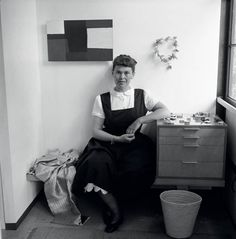 Ray Eames sitting in a room of her house.  Santa Monica, California 1950. Image: Getty Images.