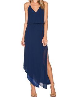 Navy Spaghetti Strap Asymmetrical Split Dress -SheIn(abaday)
