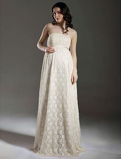 Sheath/ Column Empire Strapless Floor-length Lace Maternity Wedding Dress - USD $ 179.99