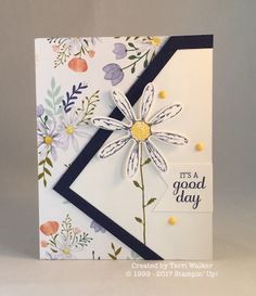 This Delightful Daisy card was a challenge to make but I love the result! Fun Fold Cards, Folded Cards, Cool Cards, Daisy Delight Stampin' Up, Tarjetas Diy, Handmade Card Making, Stamping Up Cards, Card Tutorials, Card Sketches