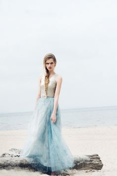 Fanfaronada spring/summer collection 2015   Gold top and maxi tulle skirt