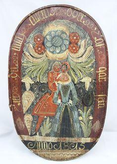 Oval Wood German Bride's Box Hand-Painted Folk Art c. 1815