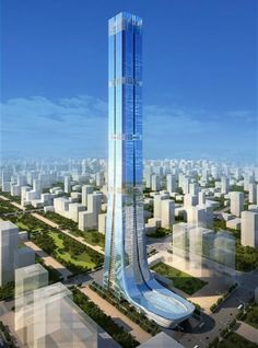 Construction has just started on what is going to be China's second-largest skyscraper the 'Evergrande tower' designed by Terry Farrell, and Partners. Unusual Buildings, Interesting Buildings, Amazing Buildings, Modern Buildings, Architecture Unique, Futuristic Architecture, British Architecture, High Building, Building Design