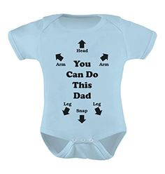 You Can Do This Dad  Funny Christmas Gift Cute Baby Bodysuit 6M Light Blue *** Visit the image link more details.-It is an affiliate link to Amazon.