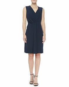V-Neck Faux-Wrap Dress by Halston Heritage at Neiman Marcus.