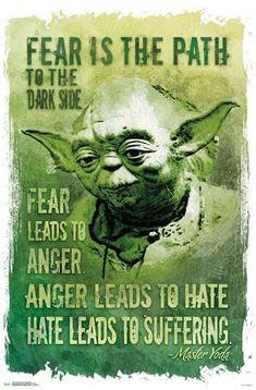 Star Wars Poster, Star Wars Art, Star Trek, Star Wars Quotes Yoda, Yoda Quotes, Saga, Star Wars Zeichnungen, Meninas Star Wars, Fear Leads To Anger