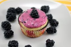 Lemon Cupcakes with Blackberry Cream Cheese Frosting...perfect summertime cupcakes :)
