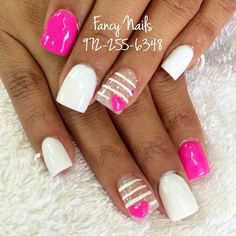 Heart sparkle stripe nails♥♥