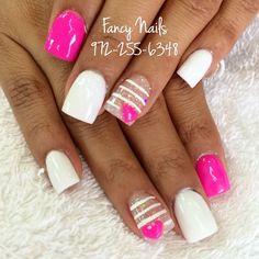 Heart sparkle stripe nails♥♥