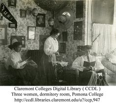 Three women, dormitory room, Pomona College by Claremont Colleges, 1909.