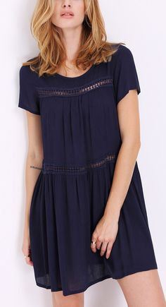 In love with this navy short sleeve shift dress from SheIn