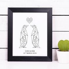 Personalised Geometric Penguin Couple Print