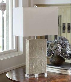 Ivory Gray Shagreen Column Lamp 26 in h
