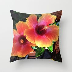 #California Yellow Red Pink #Hibiscus Photograph #unfiltered Throw Pillow by Erik 'Rough Cut' Coleman - $20.00