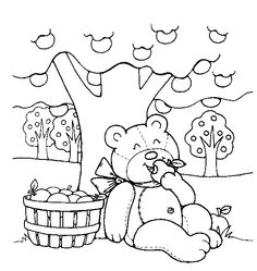 teddy bear in a basket coloriages pinterest baskets teddy bears and bears - Teddy Bear Picnic Coloring Pages