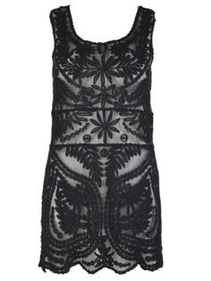 Shop Black Crochet Lace Sleeveless Dress with Mesh Panel from choies.com .Free shipping Worldwide.$24.99