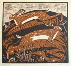 Mary Sumner, print, lino, printmaking, design, colour, hare, nature, wildlife, bird, illustration