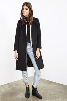 Genial damen mantel lang schwarz