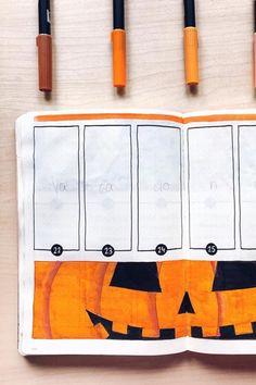 Bullet Journal Writing, Bullet Journal Spread, Bullet Journal Layout, Bullet Journal Ideas Pages, Bullet Journal Inspiration, Bullet Journal October Theme, Monthly Planner Printable, Printable Calendar Template, Halloween Week