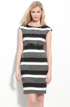 Calvin Klein Belted Ponte Knit Sheath Dress