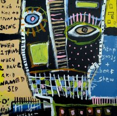 basquiat picasso inspired ORIGINAL Hughart abstract outsider 18x18 art painting #OutsiderArt
