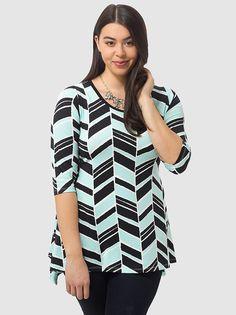 #Plus_Size #Fashion from Gwynnie Bee by Karen Kane Geo Printed Handkerchief Top #Geo #Printed #Aqua #Black #Handkerchief #Top #Fall #Autumn #Fashion #Gwynnie_Bee #karenkane #gwynniebee #plussizefashion