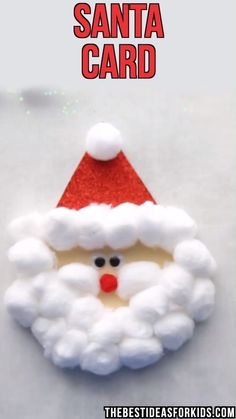 Kids Crafts SANTA CARD - this Santa card is so fun for kids to make! You can make this as a Christmas craft for kids or as a Christmas card kids can m. Diy Christmas Cards, Easy Christmas Crafts, Christmas Ornaments, Ornaments Ideas, Homemade Christmas, Christmas Crafts For Kindergarteners, Kindergarten Christmas Crafts, Christmas Christmas, Christmas Kitchen