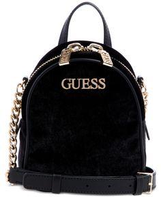 Guess Ronnie Crossbody Backpack In Black/sliver Cute Mini Backpacks, Stylish Backpacks, Backpack Purse, Black Backpack, Guess Backpack, Mochila Chanel, Fashion Bags, Fashion Backpack, Mochila Jansport