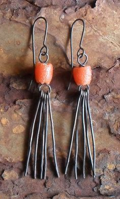 Bronze & Orange African Glass Dangle Earrings, Tribal Jewelry, Bohemian Chic, Rustic Primitive Earthy Ethnic Earrings, Artisan Metalwork. $40,00, via Etsy.