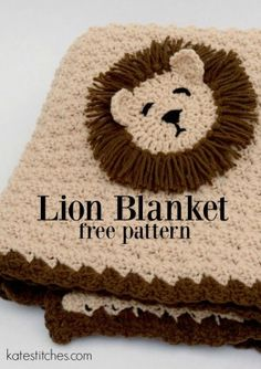 Free Crochet Patterns for Baby Blankets with Animals Lion Appliqué Free Pattern Lion Blanket Crochet Afghans, Crochet Baby Blanket Free Pattern, Crochet Lion, Crochet For Boys, Diy Crochet, Crochet Crafts, Crochet Projects, Crochet Patterns, Baby Afghans