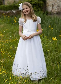 Available at Tots & Frocks, the UK's leading online suppliers of children's special occasion service. Holy Communion Dresses, First Holy Communion, Frocks, Special Occasion, White Dress, Flower Girl Dresses, Sparkle, Dresses 2016, Wedding Dresses