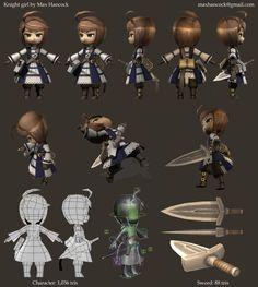 LowPoly, knight girl render sheet by kouotsu Character Model Sheet, Game Character Design, Character Modeling, Character Creation, 3d Character, Character Concept, Game Design, 3d Modeling, Wireframe