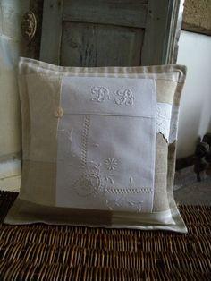 Pillow ~ Vintage linen patchwork 14.01.2012  014