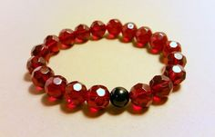 Dark Ruby Red Faceted Glass Beads Centered with One Black Round Glass Bead Bracelet!
