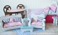 doll furniture Little Miss DIY Furniture for American Girl Dolls and Barbies! Diy Furniture For American Girl Doll, American Girl Crafts, American Girl Clothes, Doll Crafts, Diy Doll, Ag Doll House, Barbie House, Doll Houses, American Girl Accessories