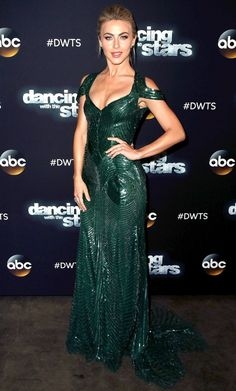 Julianne Hough in a green sequin Monique Lhuillier dress