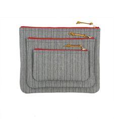 Zip Pouch - Indigo Stripe Denim
